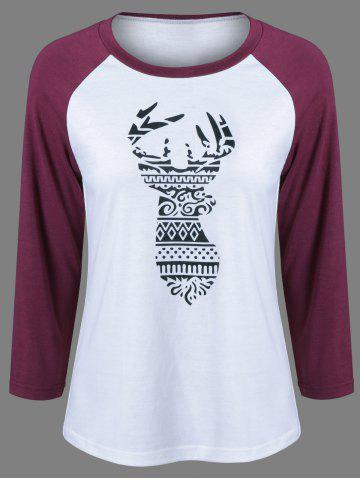 Raglan Sleeve Deer Pattern Christmas T-Shirt - Black And White And Red - M