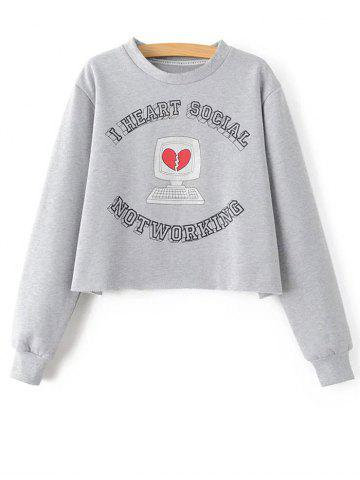 Discount Letter Cropped Loose Sweatshirt