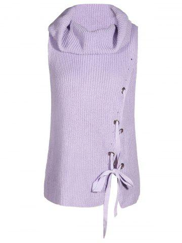Sale Turtleneck Grommet Lace Up Sleeveless Jumper Sweater Vest LIGHT PURPLE M