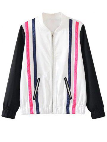 Hot Zipped Striped Bomber Jacket
