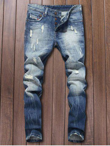 Shop Button Fly Five-Pocket Narrow Feet Ripped Jeans DEEP BLUE 42