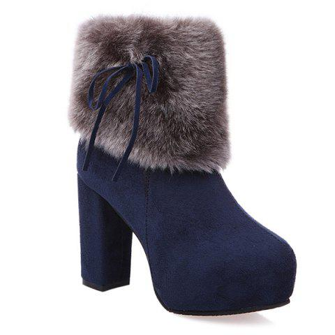 Trendy Chunky Heel Platform Faux Fur Suede Ankle Boots CADETBLUE 39