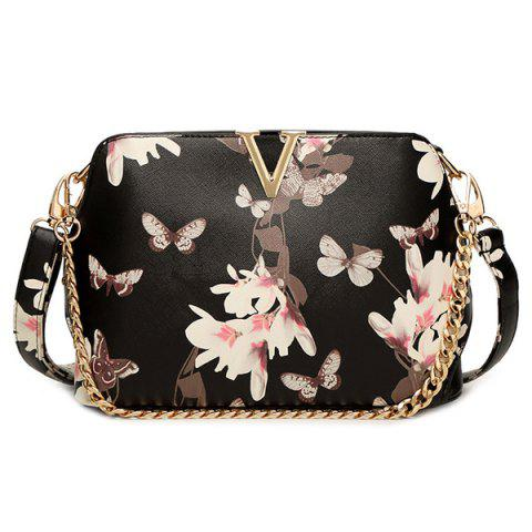 Trendy Butterfly Pattern Floral Print Metal Crossbody Bag