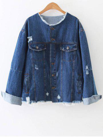 Raw Edge Patched Back Denim Jacket - Blue - L