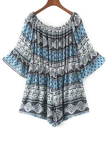 Discount Off The Shoulder Boho Paisley Print Romper BLUE L