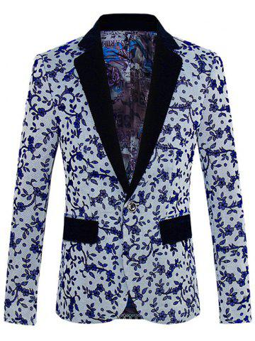 Trendy Floral Pattern One-Button Lapel Long Sleeve Blazer For Men