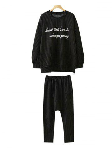 Fancy Plus Size Sweatshirt and Harem Pants BLACK 2XL