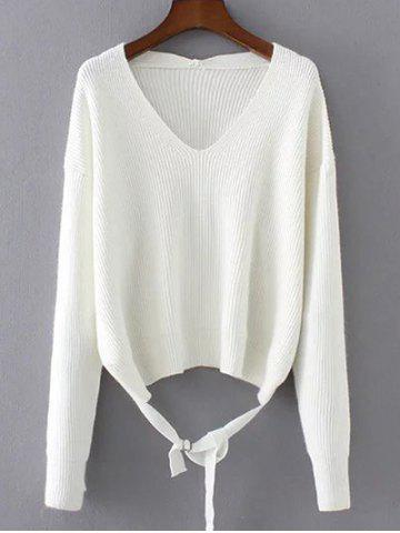 Discount String V Neck Loose Sweater WHITE ONE SIZE