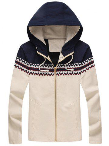Fashion Plus Size Color Block Jacquard Splicing Hooded Zip-Up Jacket
