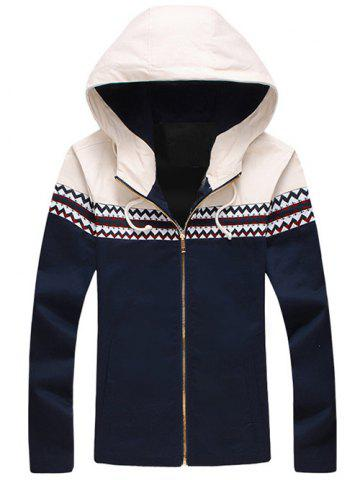 Latest Plus Size Color Block Jacquard Splicing Hooded Zip-Up Jacket