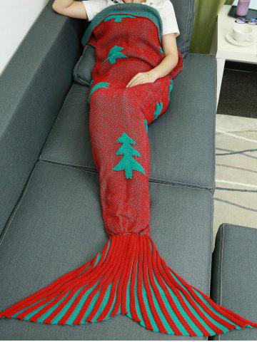 Latest Crochet Knitting Christmas Trees Mermaid Tail Style Blanket RED