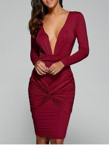 Outfit Twist Front Long Sleeve Bodycon Formal Dress RED M