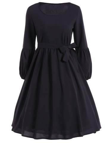 Outfits Ruffled Puff Sleeve Flare Dress