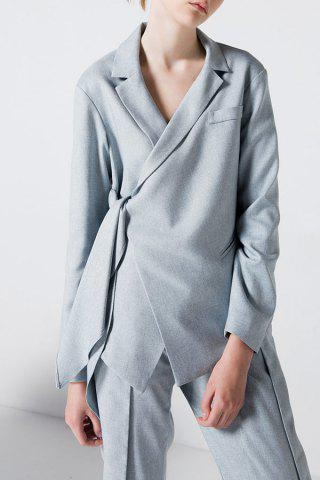 Fashion Tied Asymmetric Blazer LIGHT GRAY L