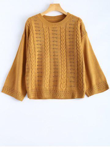Fancy Hollow Out Round Neck Pullover Sweater