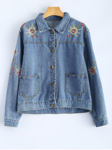 Buy Shirt Neck Retro Floral Embroidered Denim Jacket