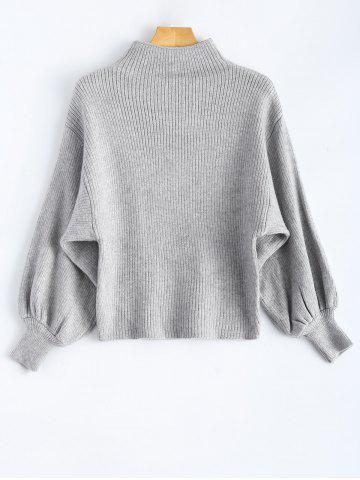 Trendy Mock Neck Puff Sleeve Pullover Sweater