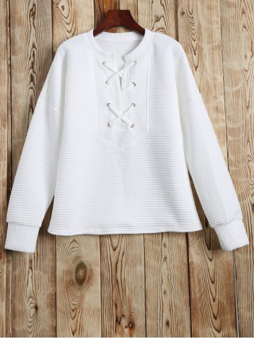 Unique Lace Up Sweatshirt WHITE XL
