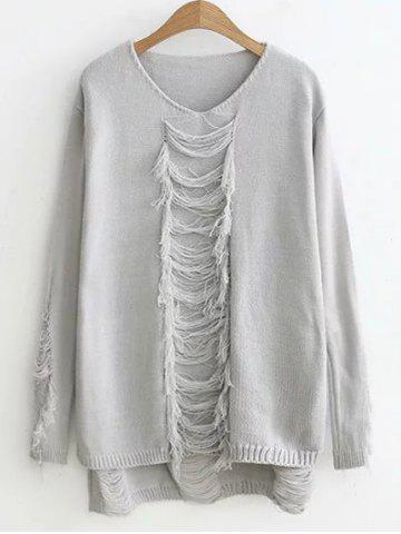 Latest High-Low Ripped Sweater