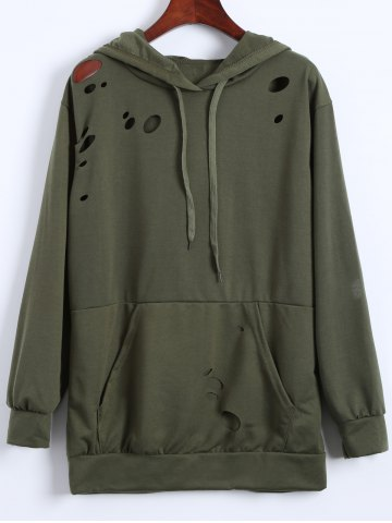 Sale Broken Hole Hoodie - XL ARMY GREEN Mobile
