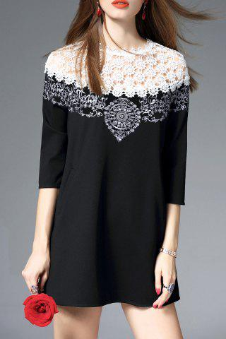 Store Mini Embroidered Openwork Dress BLACK S