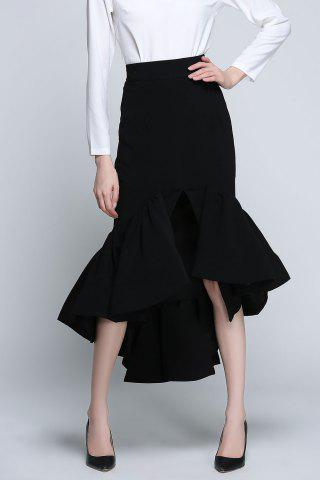 Cheap High Low Mermaid Skirt - M BLACK Mobile