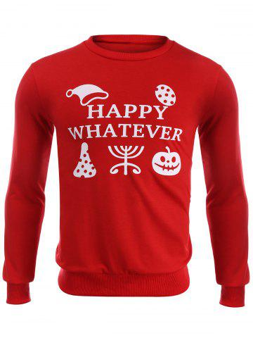 Buy Happy Whatever Print Halloween Sweatshirt