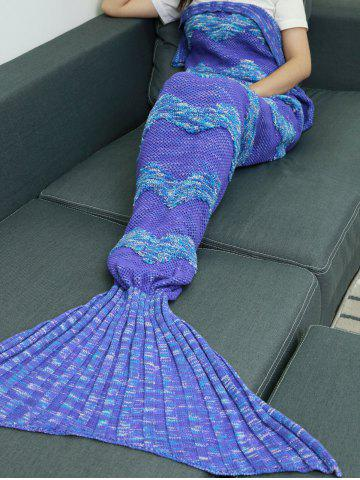 Waves Stripe Crochet Knitting Fish Scales Design Mermaid Tail Style Blanket - PURPLE