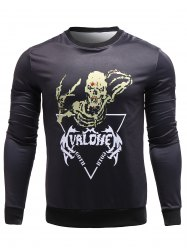 Skeleton Print Crew Neck Sweatshirt -