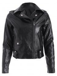 PU Epaulet Biker Short Jacket - BLACK