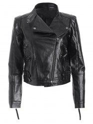 Spliced Zippered PU Biker Jacket