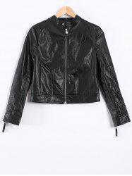 Topstitching Faux Leather Short Biker Jacket - BLACK XS