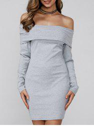 Off Shoulder Long Sleeve Mini Fitted Dress - LIGHT GRAY XL