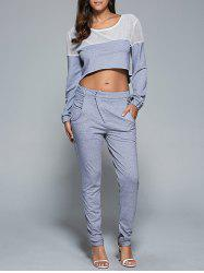 Mesh Patchwork Sweatshirt and Sport Pants Set - GRAY