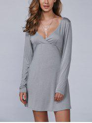 Long Sleeves Surplice Dress
