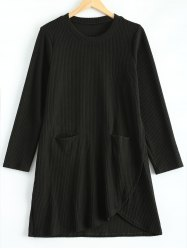 Plus Size Irregular Sweater Dress with Front Pockets - BLACK 3XL