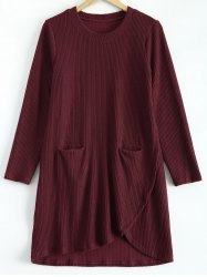 Casual Pocket Irregular Hem Sweater Dress