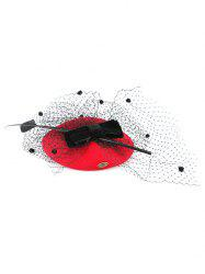 Sororal Party Bowknot Polka Dot Veil Fascinator Hat - RED