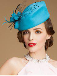 Sororal Party Fancy Feather Veil Beaded Pillbox Hat