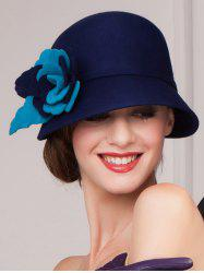 Handmade Flower 20s Felt Cloche Hat - DEEP BLUE