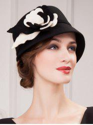 Handmade Flower 20s Felt Cloche Hat - BLACK