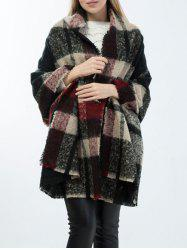 Warm Frayed Edge Tartan Shawl Wrap Scarf