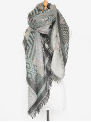 Warm Fringed Edge Aztec Geometry Shawl Wrap Scarf -