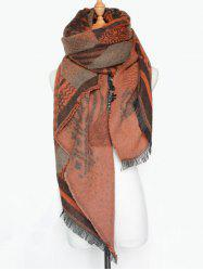 Warm Fringed Edge Aztec Geometry Shawl Wrap Scarf