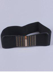 Coat Wear Metal Minus Buckle Stretch Belt - BLACK