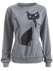 Casual Cat Print Loose Sweatshirt - GRAY