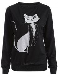 Casual Cat Print Loose Sweatshirt -