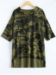 Hooded High-Low Camouflage T-Shirt