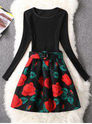 Retro Rose Flower Fit and Flare Dress