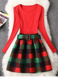 Retro Checked Print Fit and Flare Dress